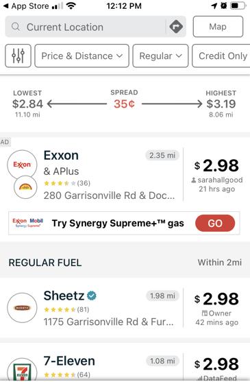 Gasbuddy App price list view