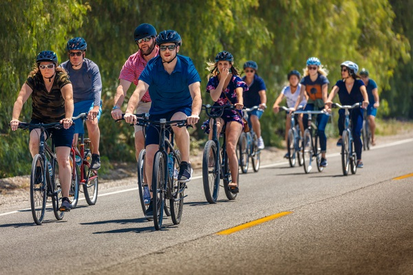 Group of bicyclists on road