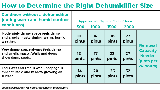 How to Determine the Right Dehumidifier Size