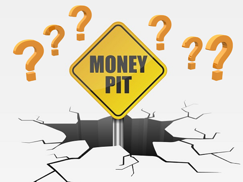 Money Pit Sign with question marks