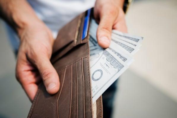 Money shown in wallet
