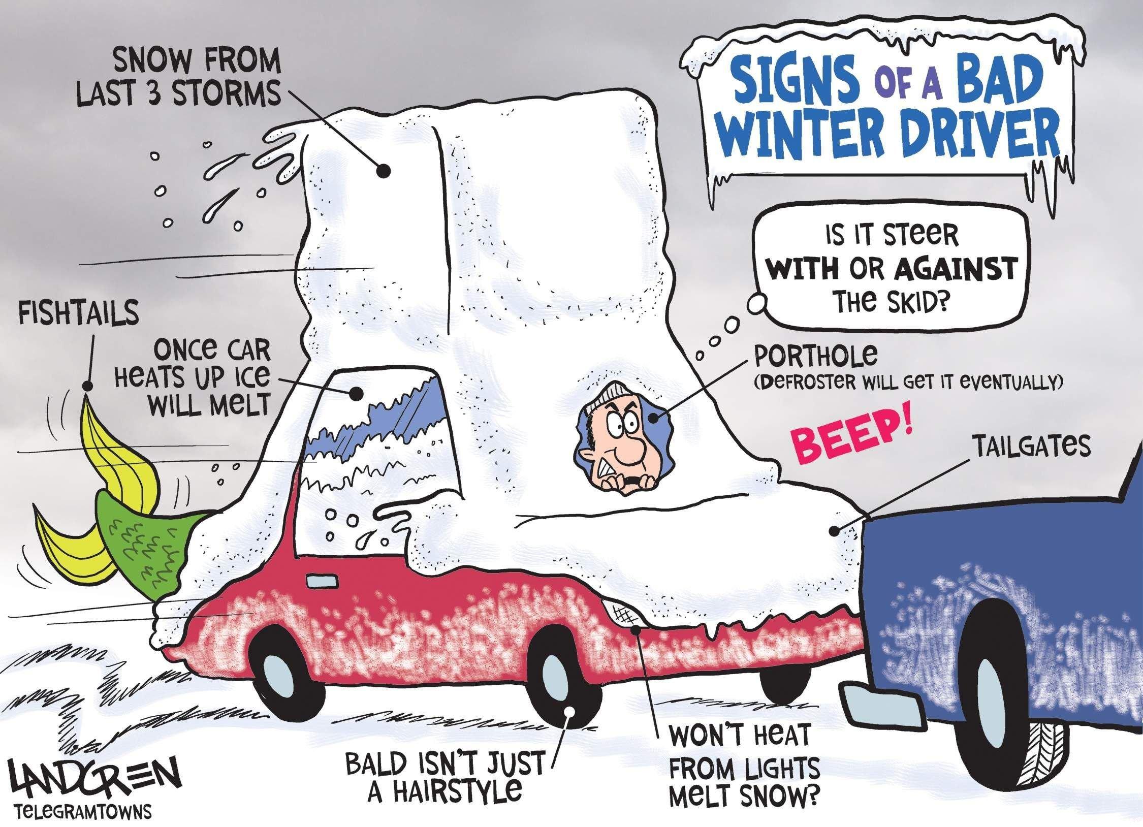 Winter driver cartoon