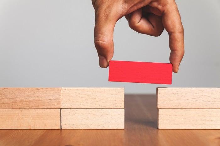 wood blocks with a gap